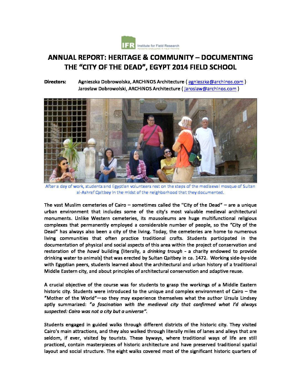 2014 Field School Programs & Research Reports - IFR